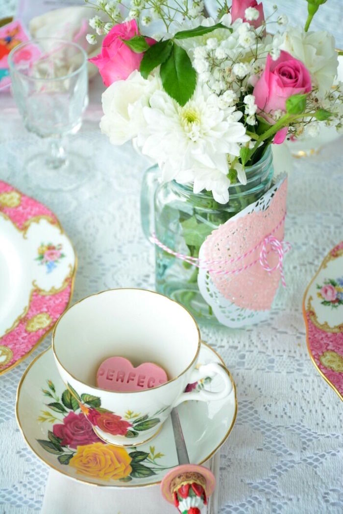 Karas Party Ideas Vintage Valentines Day High Tea Party