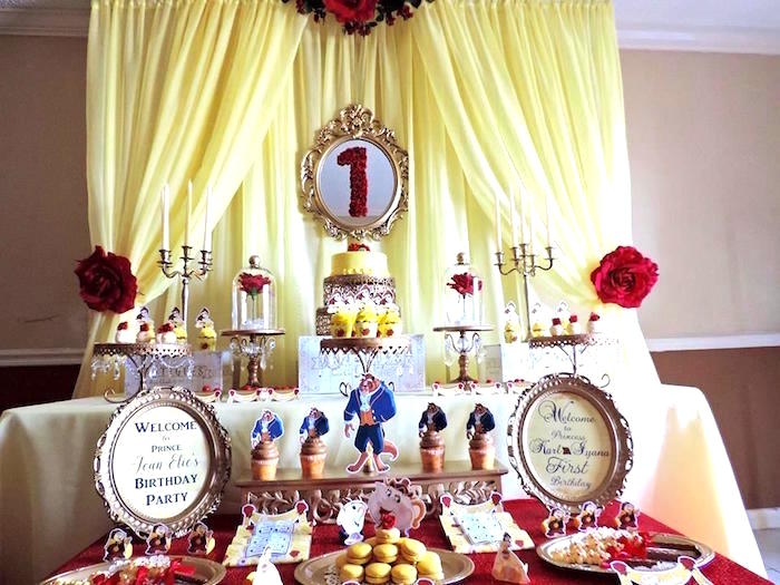 Karas Party Ideas Charming Beauty And The Beast 1st