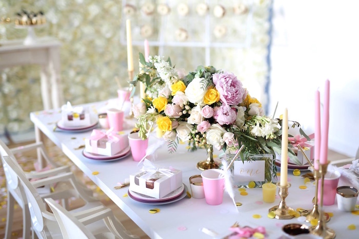 guest table from a shabby chic little angel birthday party on kara s party ideas karaspartyideas