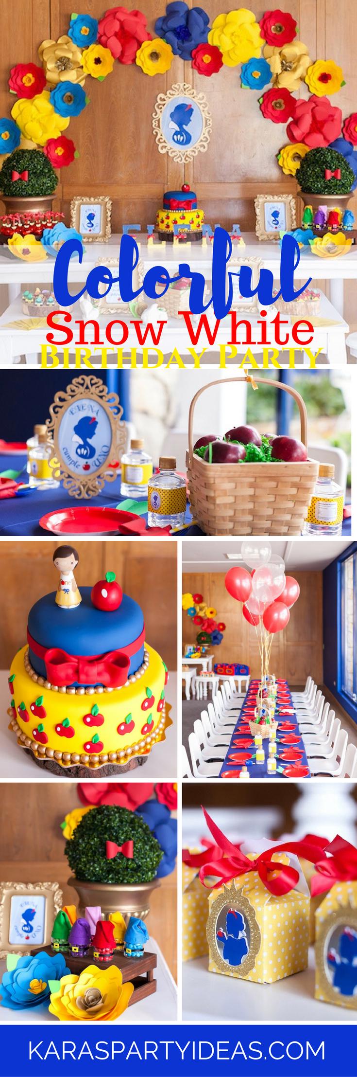 Kara S Party Ideas Colorful Snow White Birthday Party Kara S Party Ideas