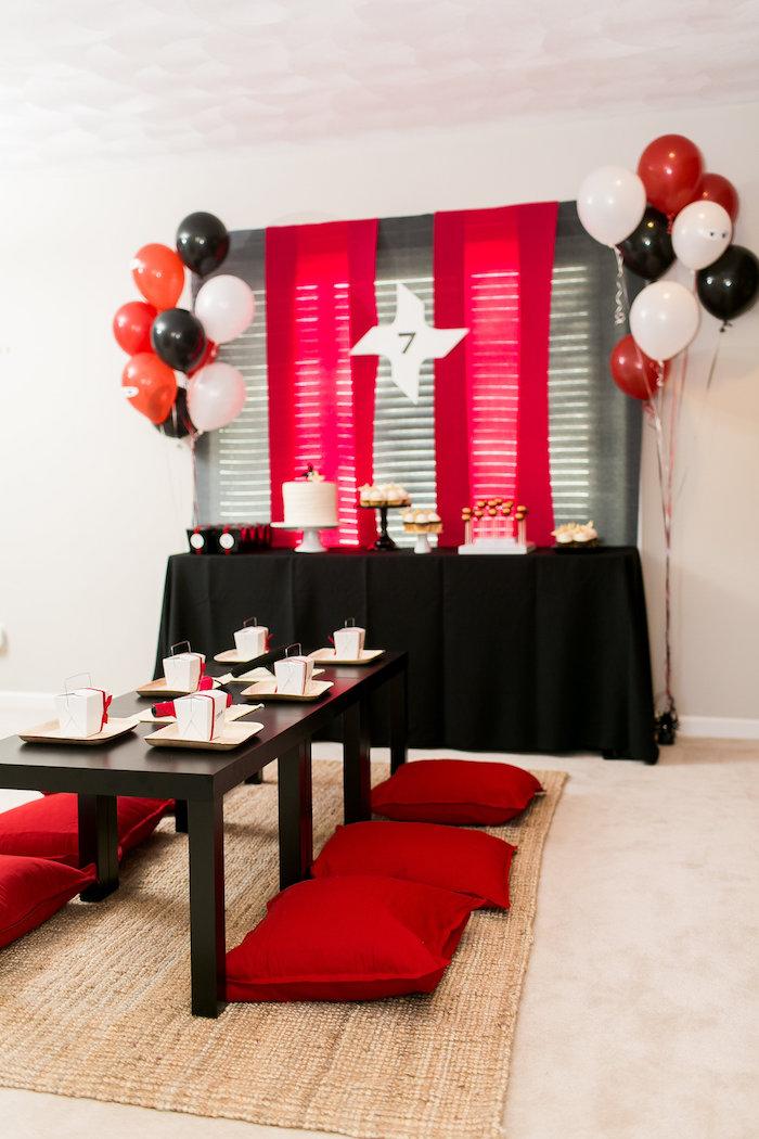 Karas Party Ideas Red White Amp Black Ninja Birthday Party