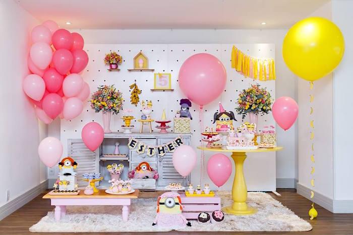 Kara S Party Ideas Pink Girly Minion Birthday Party Kara S Party Ideas