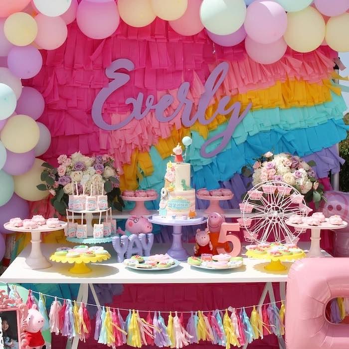 Kara S Party Ideas Peppa Pig Rainbow Birthday Party Kara S Party Ideas