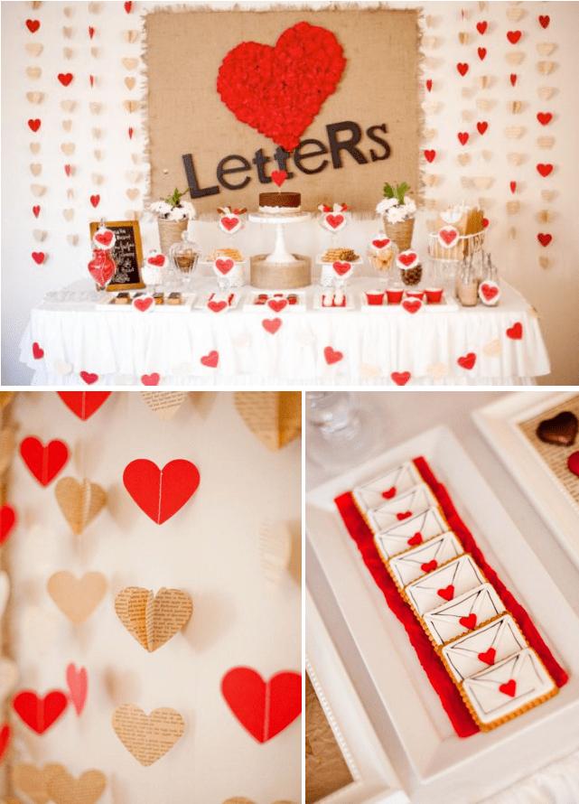 Karas Party Ideas Love Letters Dessert Table Husband Birthday Heart Party Karas Party Ideas