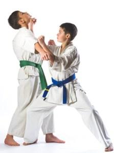 Enfants qui s'exercent au karaté dans un dojo en frappant au visage