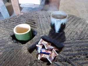 Mmmmm. Nice steamy tea on a cold morning...