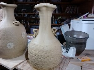 tall necked flower vase with lugs, (finally some normal ones)