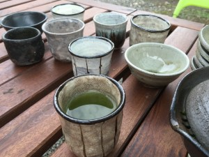 Various guinomi from 2015, mostly from the fall firing. Guinomi make great gyokuro drinking cups.
