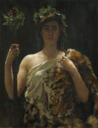 Collier, John; Young Girl Draped in a Tiger Skin ; St John's College, University of Cambridge; http://www.artuk.org/artworks/young-girl-draped-in-a-tiger-skin-139381