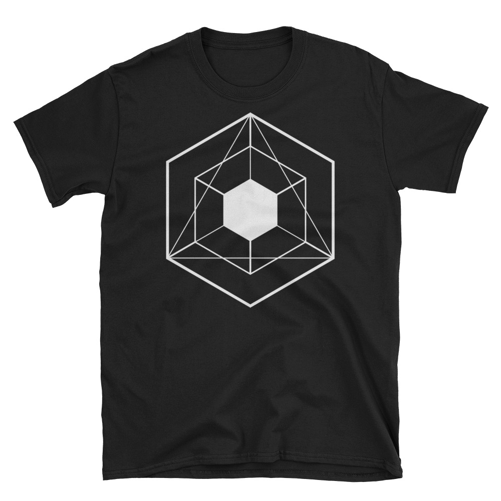 Tesseract White on Black Crew Neck