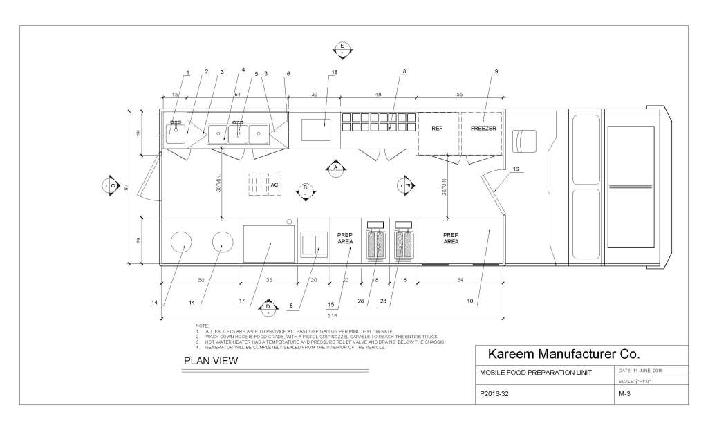 Food truck by kareem carts manufacturing company for Food truck layout plans