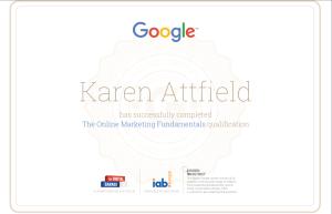 Karen Attfield Google Digital Garage Certificate