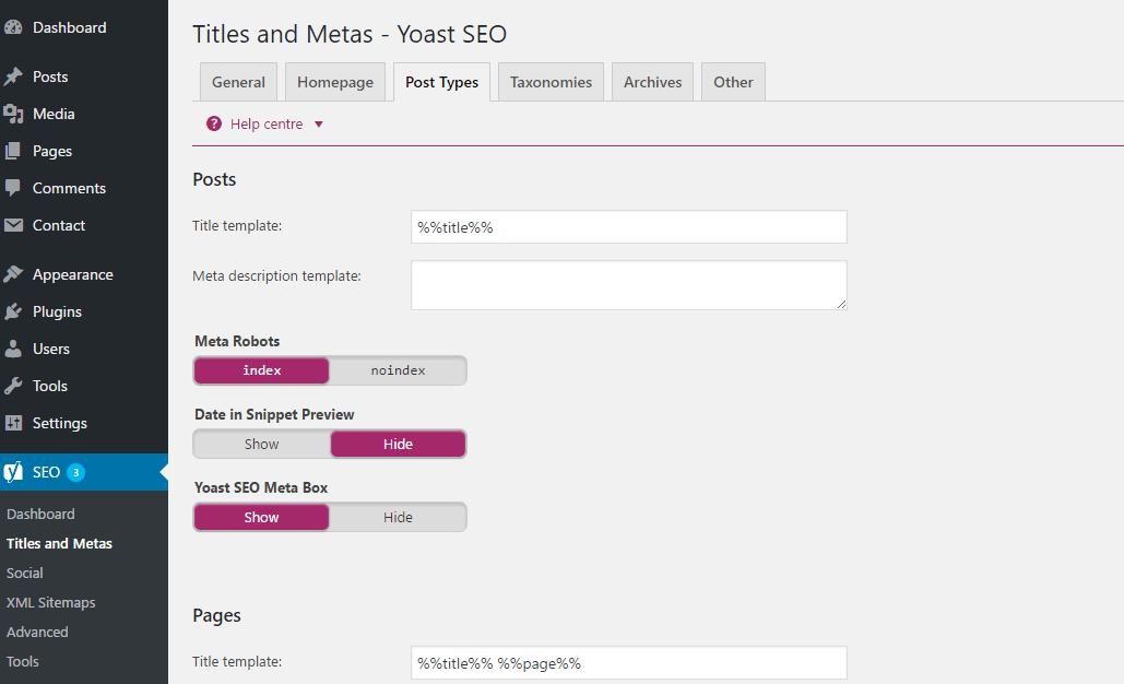 Yoast Dashboard Titles Metas