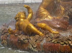 child in fountain