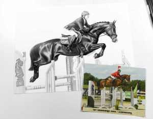 Pferd im Sprung Zeichnung