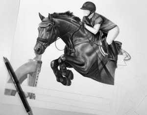 Pferd über dem Sprung Zeichnung