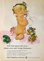 Vintage Bell telephone naked baby ad10