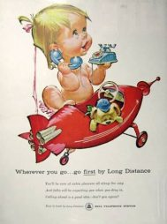 Vintage Bell telephone naked baby ad7