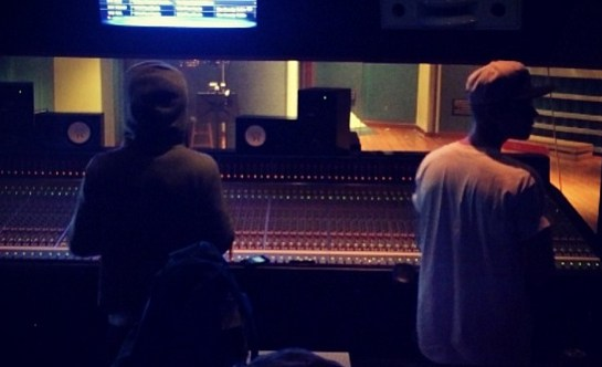Justin Bieber and Lil Wayne in the studio