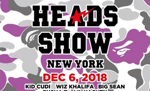 ed4ec382 Posted on November 2nd, 2018 by Derêka K. Bennett. BAPE Celebrates 25 Years  with Inaugural Bape Heads Show FT. Kid Cudi, Pusha T, Wiz Khalifa ...