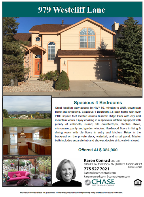 Reno Real Estate Affordable Home 979 Westcliff Ln Karen Conrad