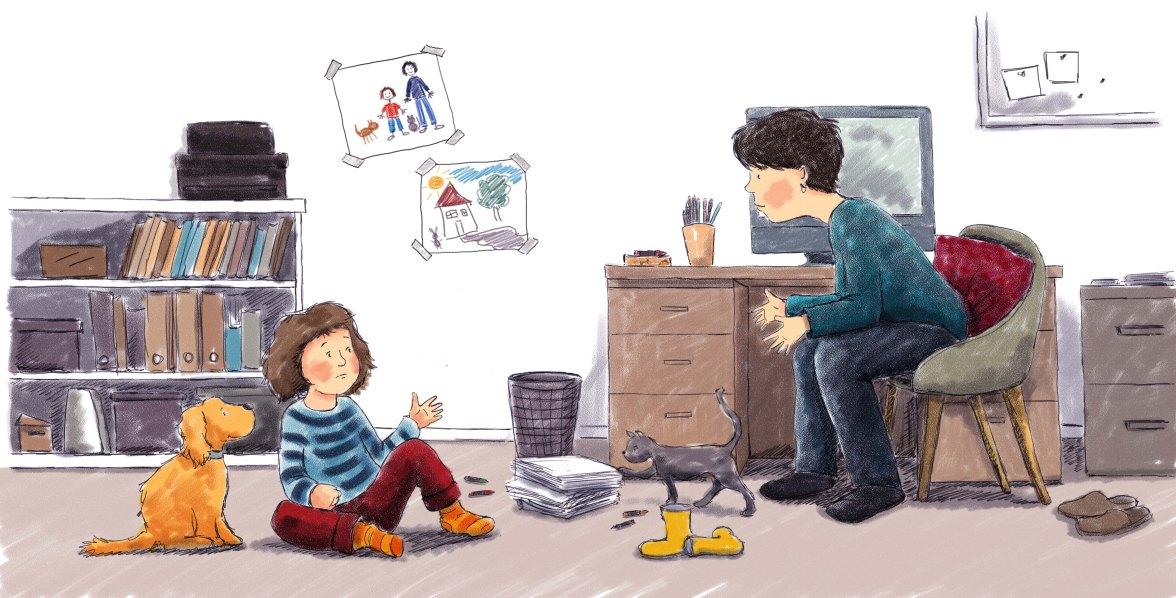 Illustration by Karen Erasmus. A digital picture book illustration from 'Eva's Imagination'