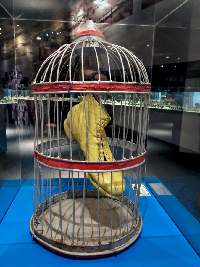 Yellow shoe in a bird cage