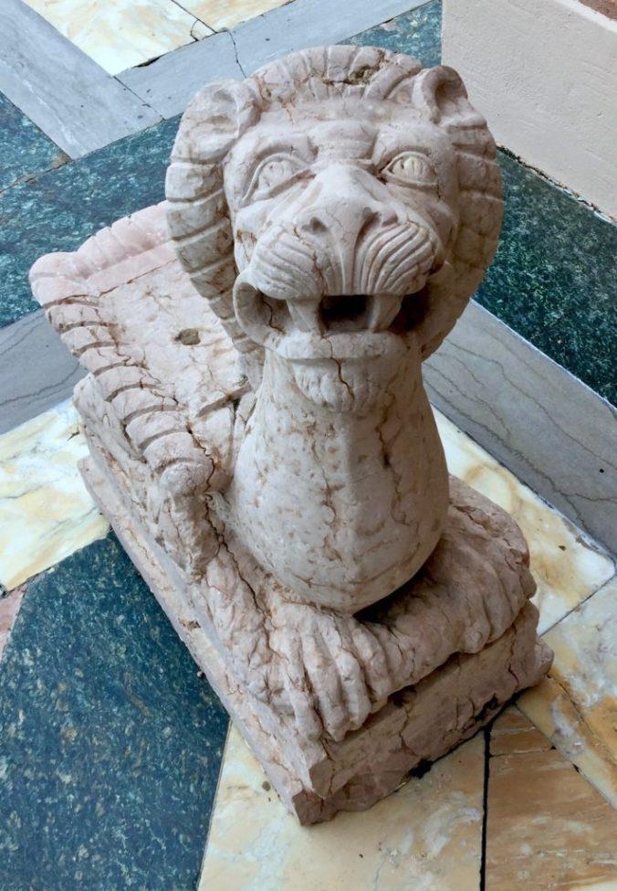 Happy lion statue
