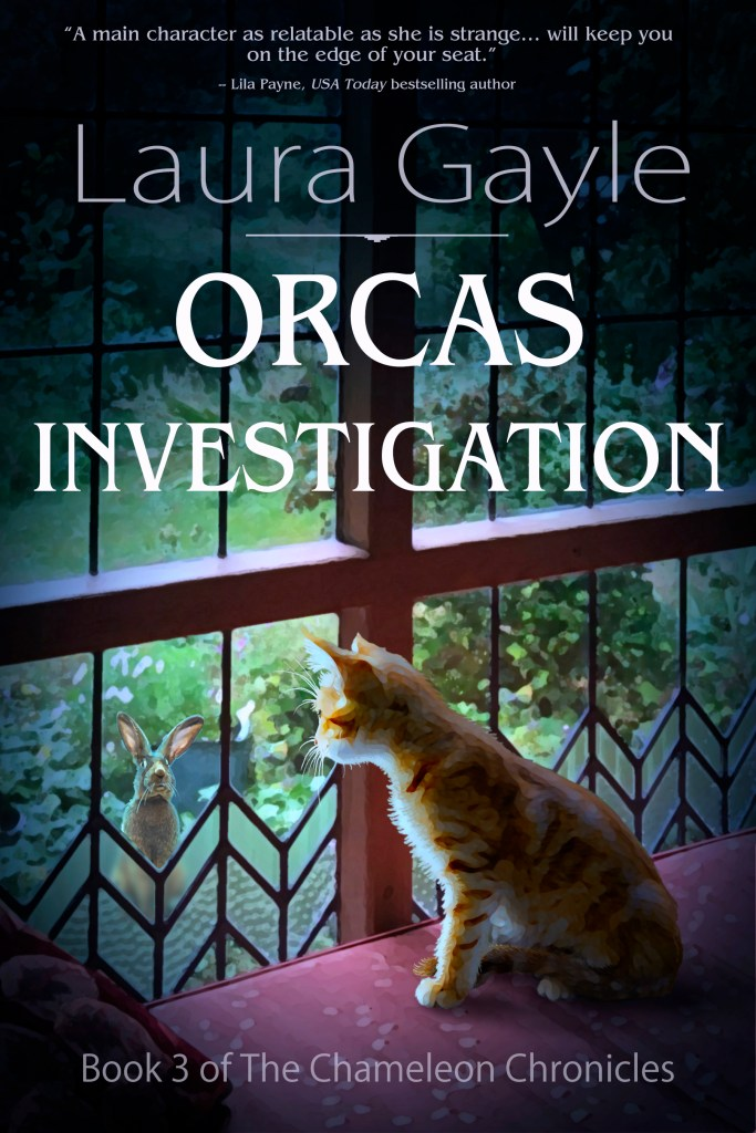 book cover for Orcas Investigation with cat looking out window at rabbit