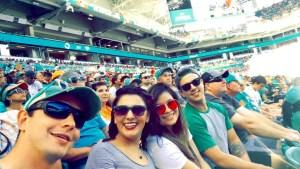 NFL, football, end zone, friends, Miami, Dolphins, diff, sunglasses, eyewear