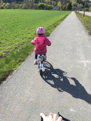 Oldest enjoying going on bike rides with Mummy!