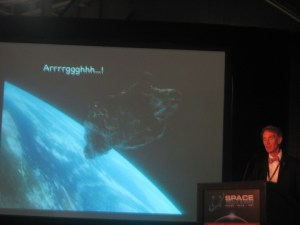 "Bill's talk was titled, ""Asteroids Will Kill You! Know Your Place in Space"""
