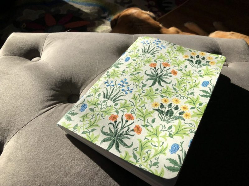 Journal with a William Morris print with plants and flowers on cover