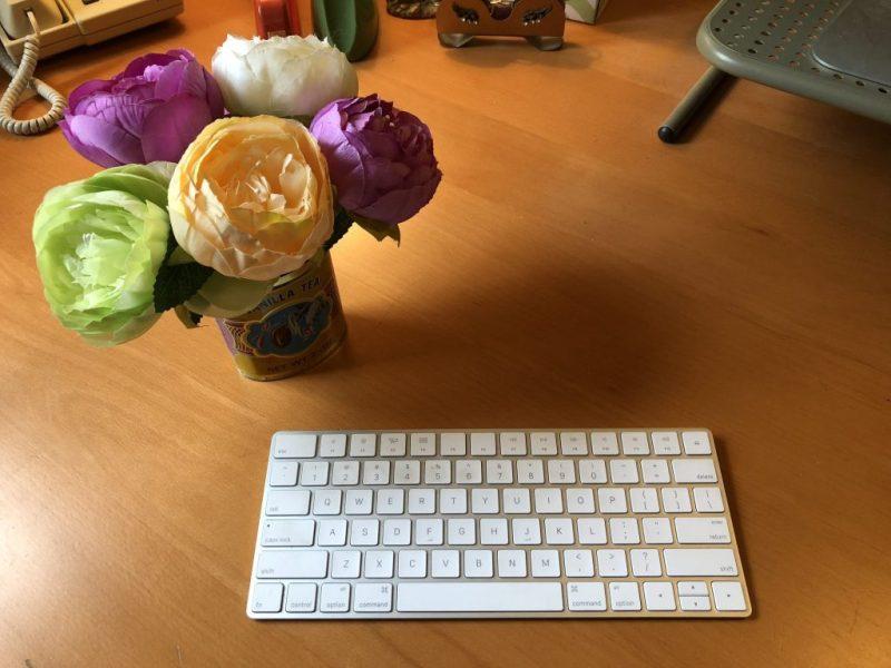 Flowers and keyboard, Karen Hugg, www.karenhugg.com #keyboard #computer #flowers #desk #writingspace