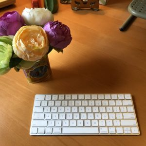Flowers and keyboard, Karen Hugg, www.karenhugg.com #keyboard #computer #flowers #desk #writingspace
