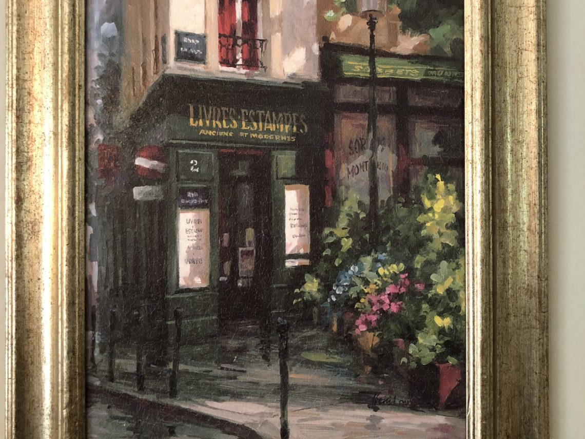 wine shop painting, Why I Love My Two Paintings of Paris, Karen Hugg, https://karenhugg.com/2018/09/06/paintings-of-paris/ #Paris #paintings #bookshop #France