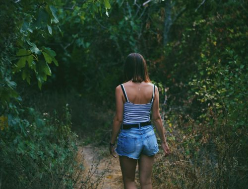 Woman in Woods, How Time Immersed in Plants Saved My Sanity, Daily Stress ReLeaf, Karen Hugg, https://karenhugg.com/2021/03/17/plants-saved-sanity #dailystressreleaf #plants #sanity #mentalhealth #relaxation #destressing #stress #gardening