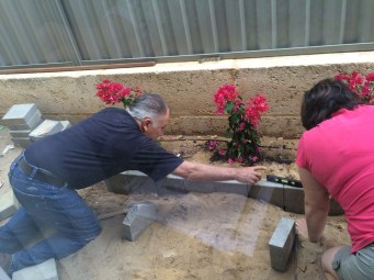Creating a new flower bed with Kimberly.