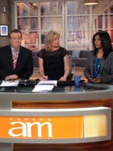 At the desk with Jeff and Bev on CANADA AM