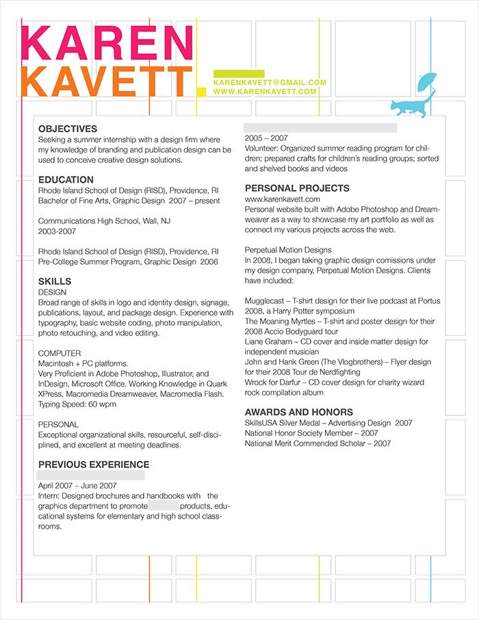 how to design a resume karen kavett