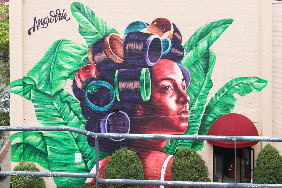 Mural of Dominican woman in rollers