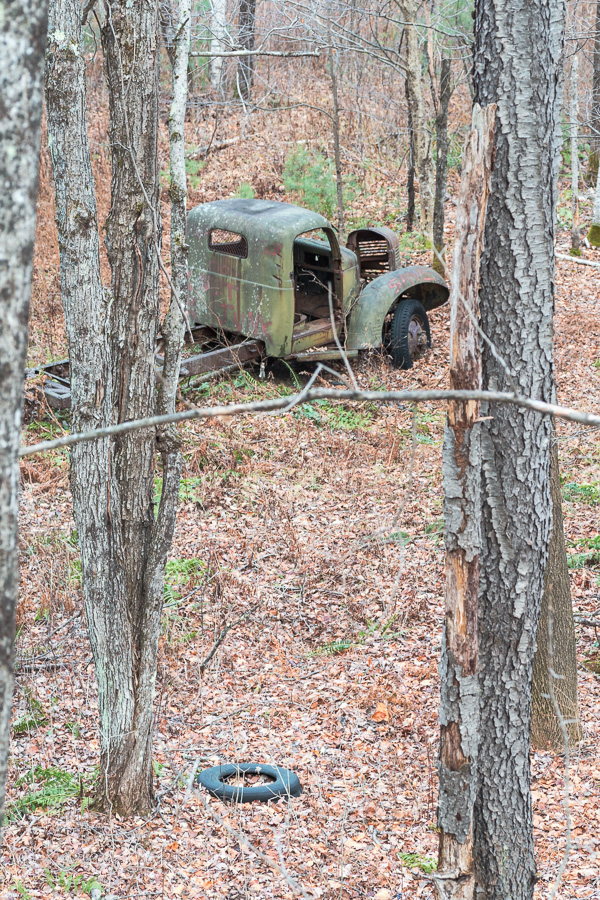 view of truck from the road