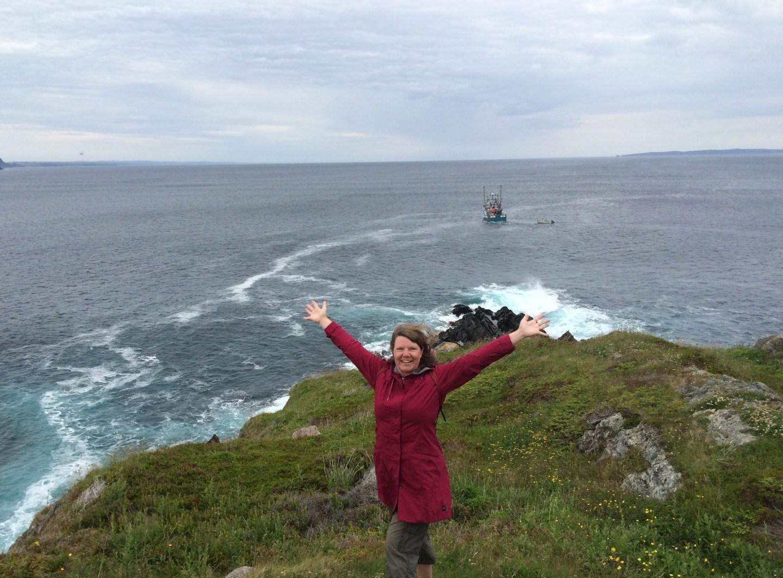 Karen on a cliff in Newfoundland