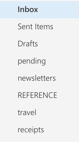 simple list of email folders