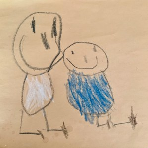 child's drawing of two happy kids