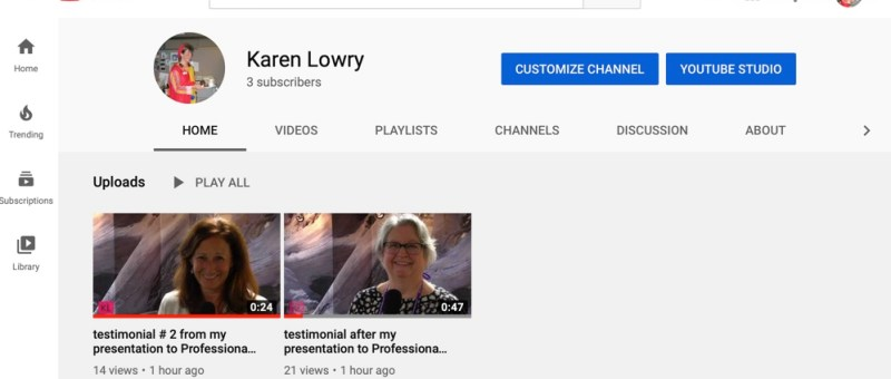 screenshot of my YouTube channel page