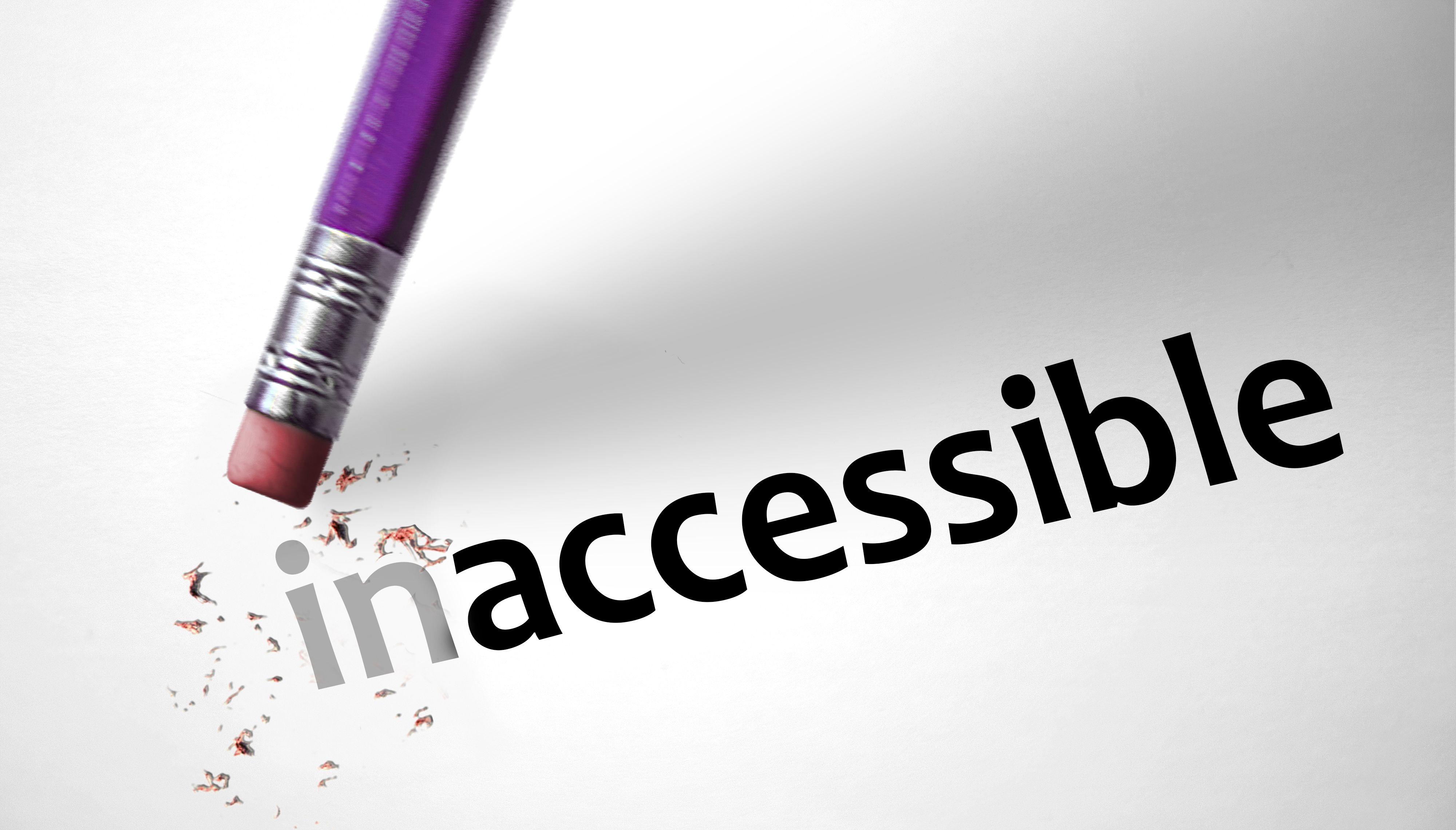 image of pencil erasing the in part of the word inaccessible
