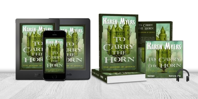 Display of available formats for To Carry the Horn, book 1 of The Hounds of Annwn. Written by Karen Myers. Published by Perkunas Press (PerkunasPress.com).