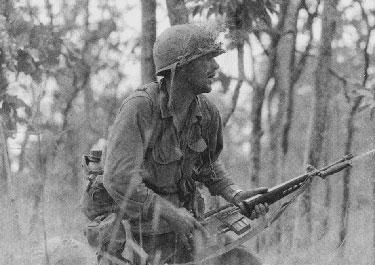 Image of Captain Rescorla in action at Ia Drang, Republic of Vietnam, 15 November 1965.