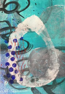 Drop with blue dots by Karen Phillips